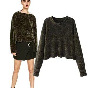 Zara olive crop chenille sweater